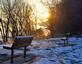 Benches line up in the morning sun. Taken January 1, 2017 Mines of Spain by Deanna Tomkins.