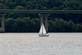 A sailboat sails by the Wisconsin bridge.. Taken August 5, 2018 A. Y. McDonald park, Dubuque, IA by Veronica McAvoy.