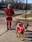 santa running with his helpers. Taken two days ago  Asbury St. Dubuque Oa by judith a simon.