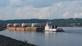 Barge loaded with wind turbine blades. Taken August13, 2019 Lock 11  Dubuque, Ia by Nelson Klavitter.