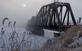 Railroad Bridge stands out on a foggy morning . Taken February 18, 2018 Dubuque by Deanna Tomkins.